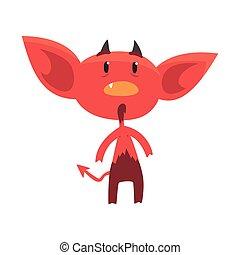 平ら, 小悪魔, 衝撃を与えられた, 特徴, 悪魔, 隔離された, 角がある, ∥あるいは∥, ベクトル, イラスト, 驚かされる, hell., 漫画, 赤, white.