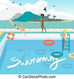 平ら, 屋外, pool., 入浴しなさい, 飛び込み, tropics., ベクトル, 水泳, illustration., 女性ビーチ, 漫画, プール, 日光浴をしなさい