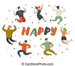 平ら, 幸福, 人々, 喜び, concept., ダンス, イラスト, characters., poses., ベクトル, 様々, 自由, 跳躍, 幸せ, 漫画