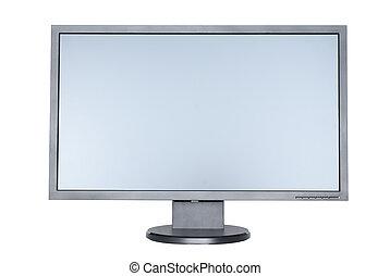 平ら, 広いスクリーン, 隔離された, コンピュータ, 背景, 白