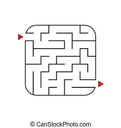 平ら, 広場, 入口, 迷路, 抽象的, レベル, 隔離された, イラスト, 1(人・つ), バックグラウンド。, ゲーム, ベクトル, difficulty., 容易である, children., 白, exit., maze., 困惑, kids., conundrum.