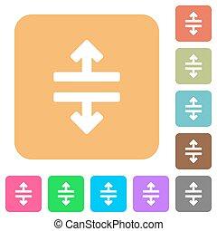 平ら, 広場, 円形にされる, アイコン, 道具, 分裂, 横