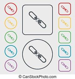 平ら, 広場, frame., 接続, ボタン, 壊される, 単一, ベクトル, シンボル, icon., ラウンド