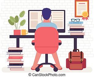 平ら, 座席, グラフィック, 仕事, 肘掛け椅子, フリー, 仕事, 特徴, イラスト, freelancer, ベクトル, デザイン, concept., home., 漫画, 人