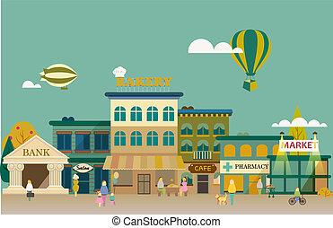 平ら, 建物, セット, ビジネス, デザイン, 小さい