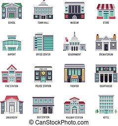 平ら, 建物, セット, 政府, アイコン, ベクトル