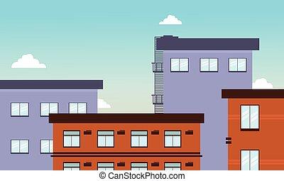 平ら, 建物, ベクトル, イラスト, 大きい