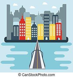 平ら, 建物, 橋, 上に, 都市の景観, 川
