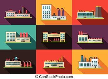平ら, 建物, 産業, デザインを設定しなさい, pictograms