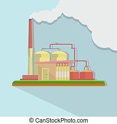 平ら, 建物, 産業, 工場, デザインを設定しなさい, スタイル