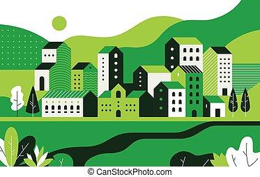平ら, 建物, 通り, 自然, 幾何学, pattern., 環境, ベクトル, 風景, cityscape., ...