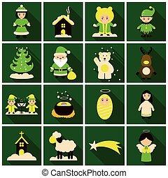 平ら, 影, セット, クリスマス, アイコン