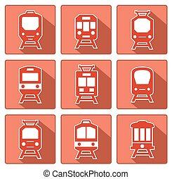 平ら, 影, 列車