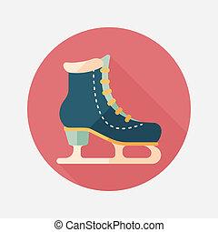 平ら, 影, 長い間, スケート, 氷, アイコン