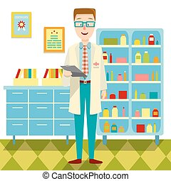 平ら, 彼の, デザイン, オフィス, 医者