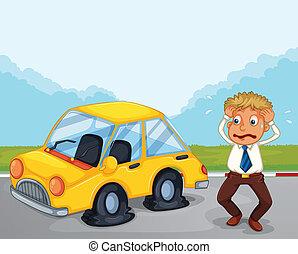 平ら, 彼の, 自動車, 心配した, タイヤ, ∥横に∥, 人