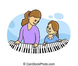平ら, 彼女, ベクトル, 白, ピアノ, 隔離された, スタイル, イラスト, 教師, lesson., モデル, 音楽, バックグラウンド。, 女の子