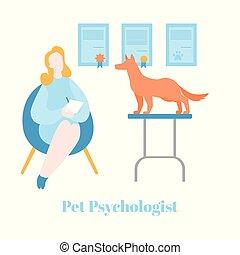 平ら, 心理学, ペット, therapist., 獣医, 犬, 持つこと, 心理上である, 療法, カウンセリング, 心理学者, 健康