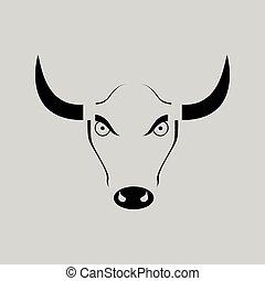 平ら, 怒る, 黒, 白, 雄牛