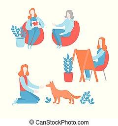 平ら, 患者, 精神, ペット, 心理上である, 心理学者, 健康, therapy., セッション, 芸術, 精神療法, 心配, 持つこと, consultation., 心理学