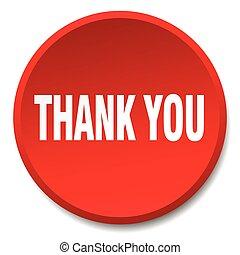 平ら, 感謝しなさい, ボタン, 隔離された, 押し, あなた, ラウンド, 赤