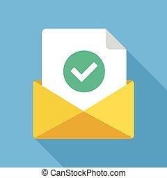 平ら, 成功した, 現代, 封筒, 出産, confirmation., 印, 出産, 電子メール, ベクトル, 緑, 電子メール, デザイン, icon., 文書, 点検, ラウンド, アイコン