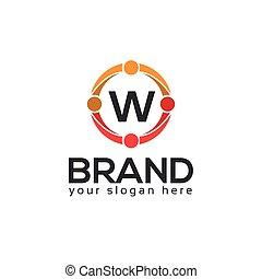 平ら, 手紙, デザイン, w, ロゴ, circle.