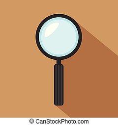 平ら, 捜索しなさい, 概念, 色, 拡大する, イラスト, 手, ガラス, ベクトル, アイコン, magnifier, デザイン, 単純である