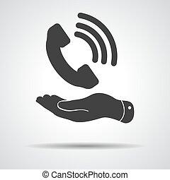 平ら, 提示, 灰色, 手, 電話, 黒い背景, 受信機, アイコン
