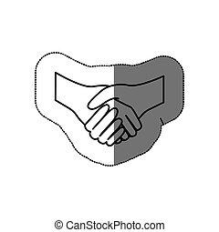 平ら, 握手, シルエット, ステッカー, 合意, アイコン