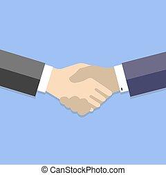 平ら, 握手, ビジネス, -, イラスト, ベクトル