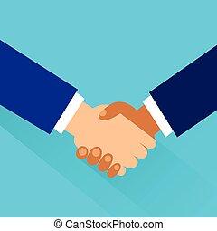 平ら, 握手, ビジネス, 振動, ベクトル, デザイン, 手, アイコン
