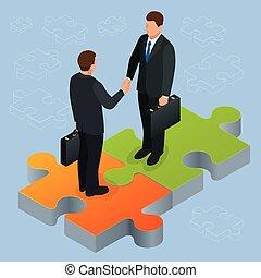 平ら, 握手, 概念, 金融, ビジネス 人々, 動揺, concept., 協力, 等大, イラスト, 2, 合意, ビジネスマン, 手, 成功, isometric., 企業である, 3d