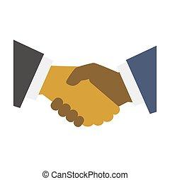 平ら, 握手, 現代, スタイル, バックグラウンド。, ベクトル, デザイン, 白, アイコン