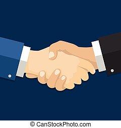 平ら, 握手, agreement., イラスト, style-vector, ビジネスマン