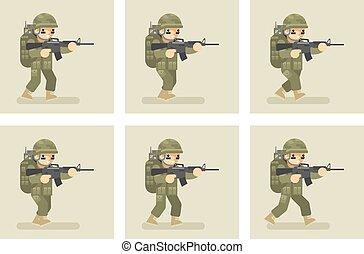 平ら, 操業, 兵士, アニメーション, デザイン, フレーム