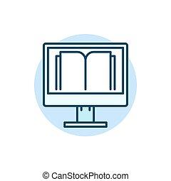 平ら, 教育, オンラインで, アイコン