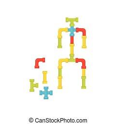 平ら, 教育, tubes., カラフルである, ロボット, プラスチック, ベクトル, デザイン, constructor., おもちゃ, 作られた, 子供, kids.