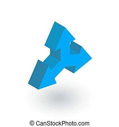 平ら, 方向, 等大, ベクトル, 矢, icon., 三方, 3d