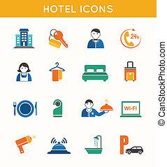 平ら, 旅行, ホテル, セット, アイコン