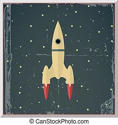 平ら, 星, ロケット, スペースイラスト, 始めなさい, ベクトル, デザイン, レトロ, 背景