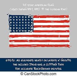 平ら, 星, 48, ストローク, -, アメリカの旗, ブラシ, はねる, 芸術的