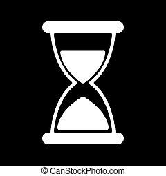 平ら, 時計, タイマー, シンボル。, クロノメーター, icon., 砂時計