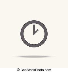 平ら, 時計, ベクトル, デザイン, 影, アイコン