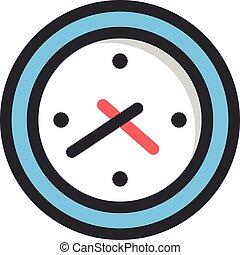 平ら, 時計, ベクトル, デザイン, icon., 線