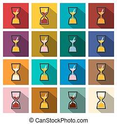 平ら, 時計, set., アイコン, 長い間, 砂, ベクトル, デザイン, レトロ, clocks., 影, カラフルである