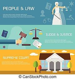 平ら, 最高, court., デザイン, 旗, 法律, style.