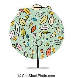 平ら, 木, 抽象的, -, 隔離された, イラスト, ベクトル, デザイン, 背景, 白