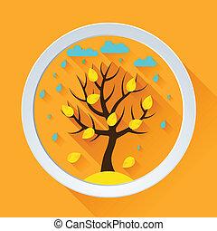 平ら, 木, 秋, デザイン, 背景, style.