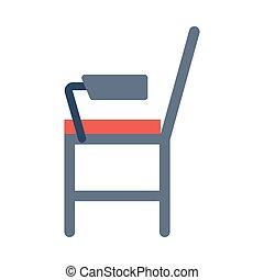 平ら, 椅子, 学生, アイコン